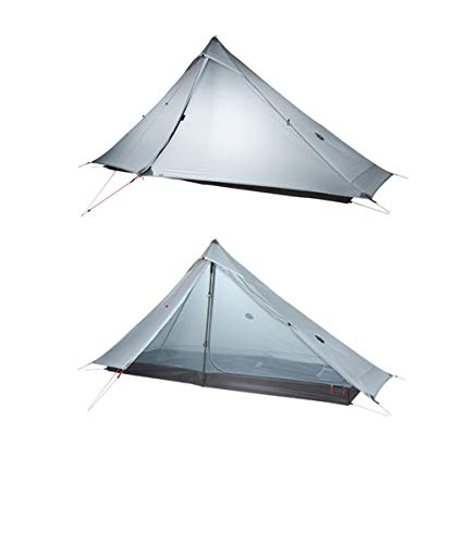 ZFLL outdoor tent Lanshan 1 pro Tent Outdoor 1 Person Ultralight Camping Tent 3 Season Professional 20D Rodless Tent,20D Gray