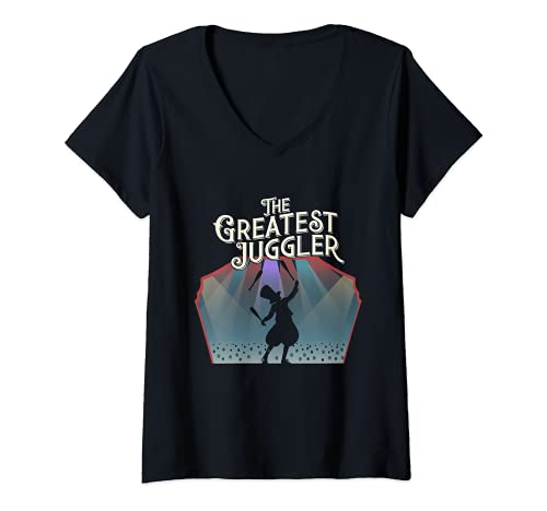 Mujer Circus Showman Retro Vintage Malabarista Silhouette Malabarismo Camiseta Cuello V