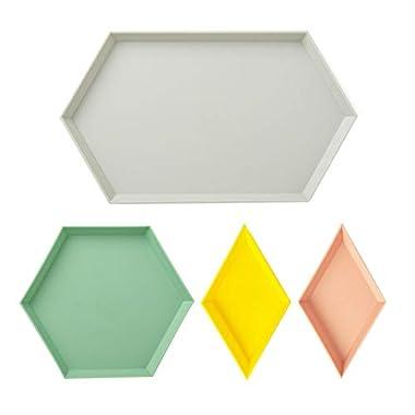 Plastic Stackable Geometric Jewelry Tray Versatile Desk Organizer, UNIKON Storage Platters Small Food Serving Tray Set of 4, Great for Organization, Display, Storage, Decoration