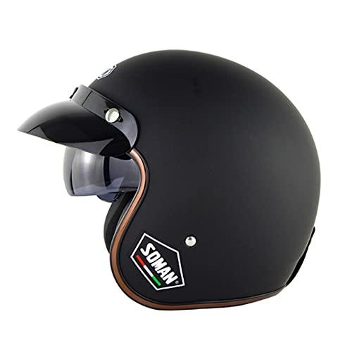 Cascos Half Helmet Retro Harley Anti-Collision Motorcycle Dot ECE Certified 3/4 Cruiser Picar Casco con Gafas de Sol Invisibles y Forro Desmontable (Color : A, Size : 57~58cm)
