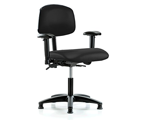 Perch Multi Task Swivel Chair with Stationary Caps, Desk Height, Black Fabric