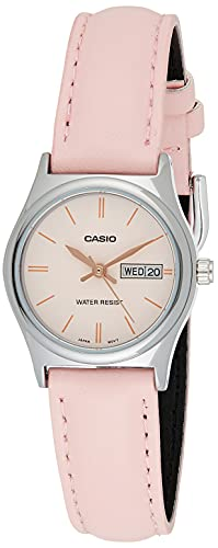Casio LTP-V006L-4B Women's Pink Leather Band Pink Dial Day Date Analog Dress Watch
