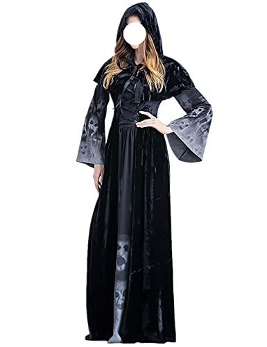 Disfraz de bruja para disfraz de vampiro con capucha para Halloween, Navidad, Pascua, fiesta, rendimiento, disfraz, negro _S