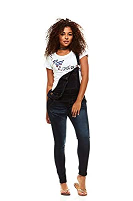 Cover Girl Women's Size Denim Overalls Bib Strap Button Skinny Fit, Varsity Blue, Plus 20W