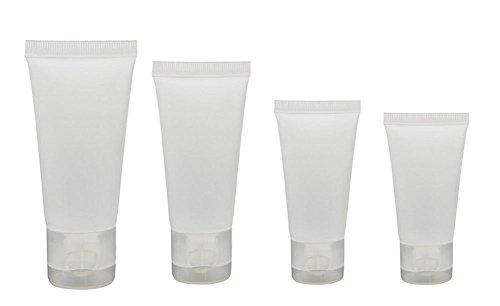 Contenitori in plastica trasparente, vuoti, ricaricabili, per cosmetici, shampoo, detergenti, bagnoschiuma, creme per il corpo, quantità 20 pezzi da 10 ml 15 ml  30 ml 50 ml