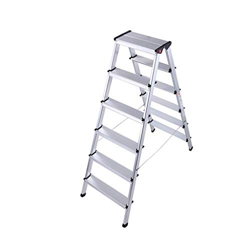 Bouwbenodigdheden Vijf Stap Zolder Ladder, Boekenwinkel goederen for tweeërlei gebruik Stepladders Double Side Metal Stepladders Six Step Heavy Duty Anti-Slip Ladder Bespaar ruimte