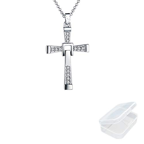JinYu Dominic Toretto's Cross Necklace Pendant Vin Diesel Necklace Men's Jewelry with Box (Silver)