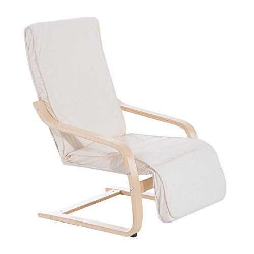 HOMCOM Wooden Lounging Chair Deck Relaxing Recliner Lounge Seat w/Adjustable Footrest & Removable Cushion, Cream White