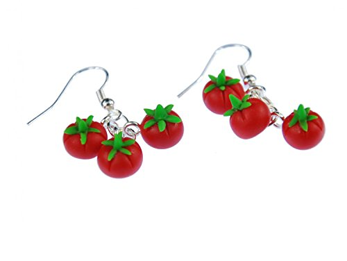 Tomato Earrings Miniblings Tomato Fruit Vegetables Set Of 3 Kitchen Cook Red Round