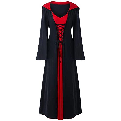 Renaissance Medieval Irish Costume Over Dress Vintage Women's Costumes Cosplay Over Hooded Dresses