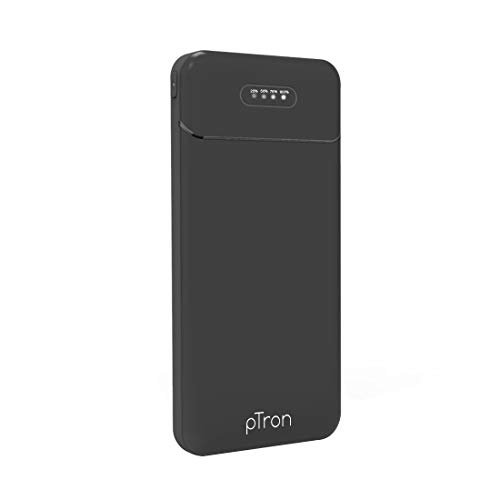 PTron Dynamo Lite 10000mAh Li-Polymer Power Bank, Slim & Portable, 2.1A Fast Charging for Smartphones & Other Smart Device, Dual USB Ports, Type C & Micro USB Input, Safe & Reliable - (Black)