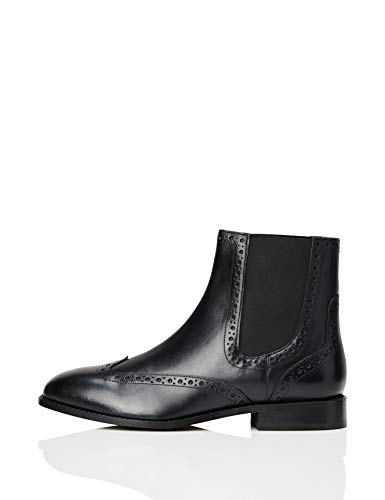 find. Brogue Botines, Negro Black, 38 EU