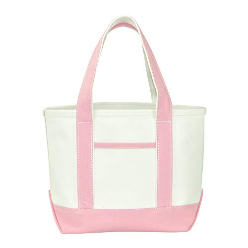 DALIX 14' Mini Small Cotton Canvas Party Favor Wedding Gift Tote Bag in Pink