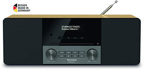 TechniSat DIGITRADIO 3 - Stereo DAB Radio Kompaktanlage (DAB+, UKW, CD-Player, Bluetooth, USB, Kopfhöreranschluss, AUX-Eingang, Radiowecker, OLED Display, 20 Watt RMS) eiche