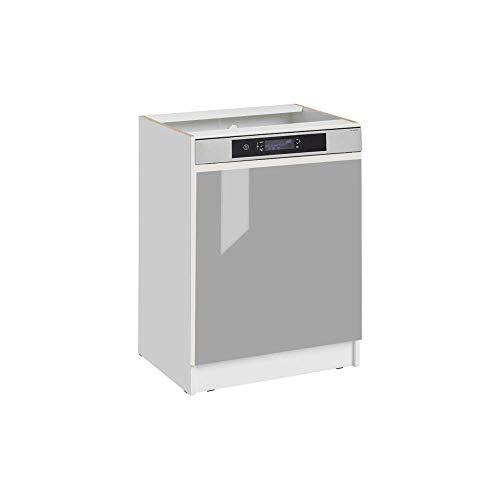 Cuisineandcie - Façade pour lave-vaisselle semi-intégrable - L 60 cm - gris brillant