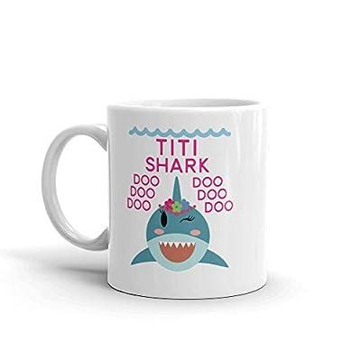 """Shark Titi"" Unique Ceramic Coffee Mug/Cup (11 oz.) — Birthday Mother's Day Christmas Gift For Mom Mother Grandma"