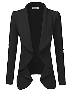 Doublju Classic Draped Open Front Blazer for Women with Plus Size Black X-Large