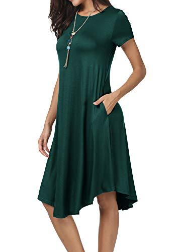 levaca Womens Summer Short Sleeve Loose Beach Casual Flowy Midi Dress Green S