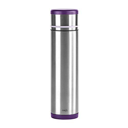 Emsa 509228 Isolierflasche, Mobil genießen, 1 l, Safe Loc Pro Verschluss, Brombeer-Lila, Mobility