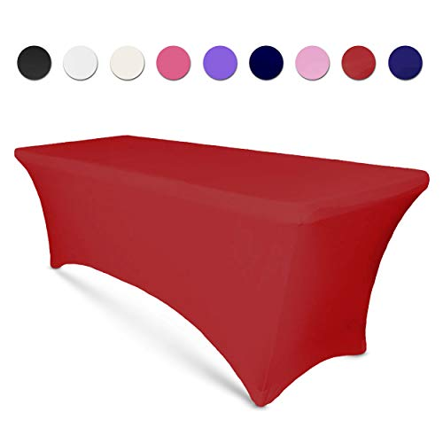 6ft Tablecloth Rectangular Spandex Linen - Table Cloth Fitted Cover for 6 Foot Folding Table, Wedding Linens Banquet Cloths Rectangle Covers (Red)