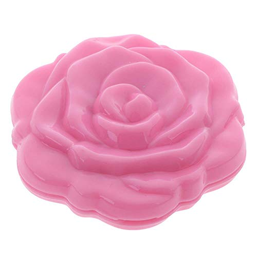 LASISZ Make Up Miroir Portable Double Face Make Up Mirror Mini Rose Flower Compact Girls Pocket Mirror Unique Gift, Pink