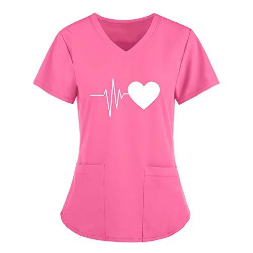 Blouse Infirmiere Femme Professionnelle Col en V Blouse Medicale Femme Manche Court Imprimée Motif Chimie Travail Uniformes Sweatshirt Dames Pas Cher Tee Shirt