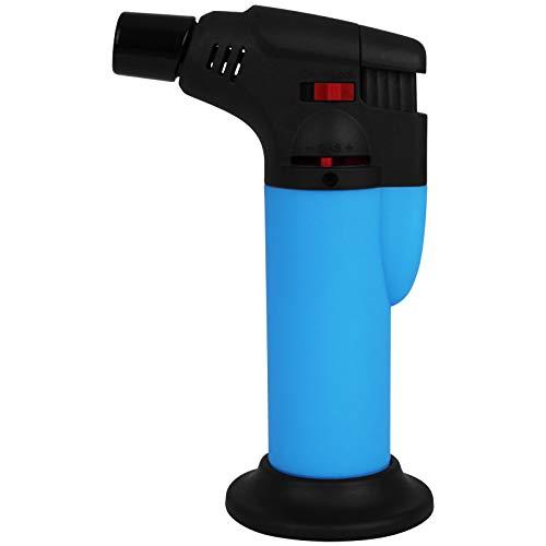 TW24 Gasbrenner Neon mit Farbwahl Flambierbrenner Mini Küchenbrenner Crème Brûlée Flambierer Sturmfeuerzeug (Blau)