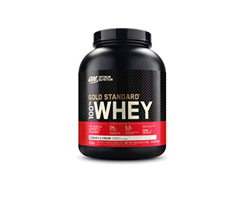 Optimum Nutrition Gold Standard 100% Whey Protein Powder, Cookies and Cream, 4.65 Pound (Packaging May Vary)