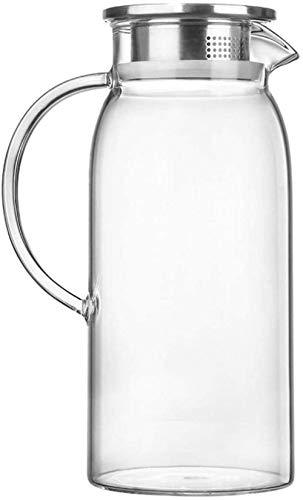 Tetera El jarro de agua Tetera de cristal con la tapa de la jarra con hielo y la manija de borosilicato resistente al calor jarra de cristal de té caliente / fría agua / hielo vino de café de leche y
