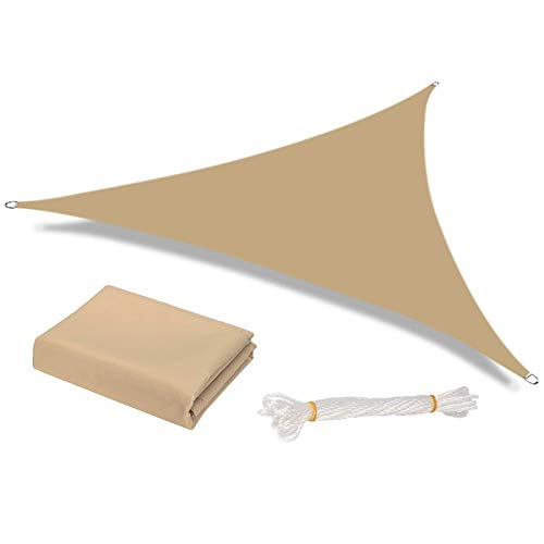 FEIGER Parasol de Vela Impermeable al Aire Libre, jardín, Patio, Fiesta, Protector Solar, toldo Triangular de 2x2x2m, 98%, Bloque UV con Cuerda Libre, Arena
