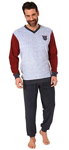 Eleganter Herren Frottee Pyjama mit Bündchen Langarm Schlafanzug - 212 101 13 802, Farbe:grau-Melange, Größe:48
