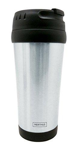 Nerthus 1 Taza Doble Pared 500ml, Termo para café, Plata, Acero Inoxidable, Negro O Gris