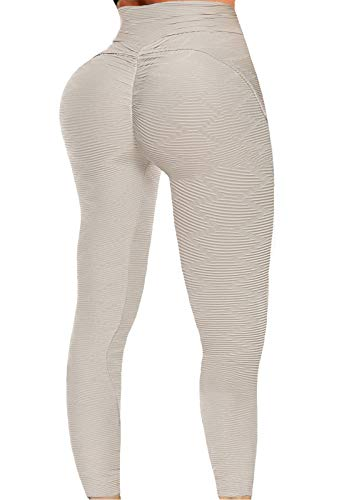 FITTOO Womens High Waist Textured Workout Leggings Booty Scrunch Yoga Pants Ruched Tights Grey XL