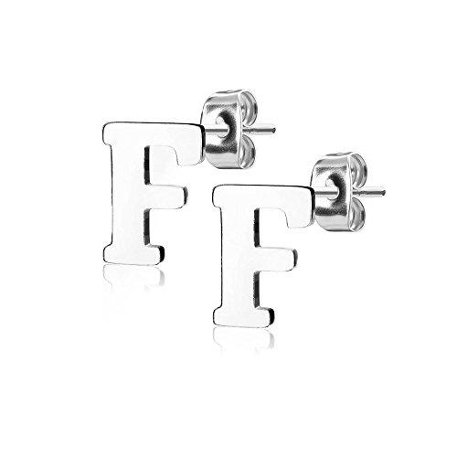 Bungsa® BUCHSTABE F Ohrstecker Silber - BUCHSTABEN F Ohrring in Silber - Alphabet Ohrringe zum Stecken - aus Edelstahl - Ohrschmuck für Damen, Kinder & Herren