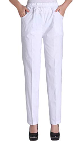 Soojun Womens Summer Elastic Waist Comfy Stretch Pull On Pants, White, X-Large