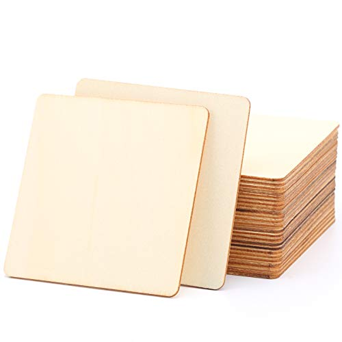 LUTER 28 Stück 10 x 10 cm Holz Unvollendete Quadratische Leere Scheiben Scrabble Fliesen für Untersetzer, Brandmalerei, Malen, Schreiben, Weihnachtsdekoration und DIY Arts Craft Project
