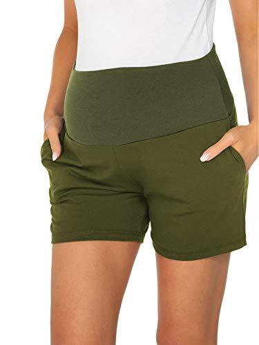 Love2Mi Pantaloncini corti da donna estivi verde militare XL