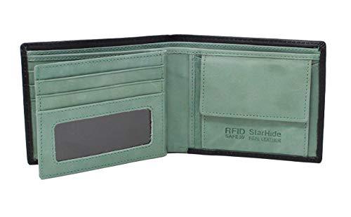 Starhide Portafogli Uomo Nero Verde Morbido di alta qualità In Vera Pelle Con Finestra Id & monete tasca Portafoglio # 1216 Black / Green Taglia unica