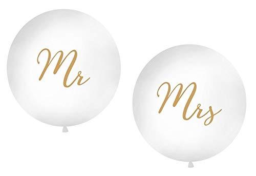 Giant bruiloftsballonnen, XXL Mr & Mrs, in wit en goud, diameter per ballon ca. 1 m - inhoud 2 stuks - bruiloftsdecoratie/bruiloftsaccessoires/decoratie huwelijk/luchtballonnen groot