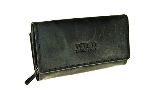 Vintage Geldbörse aus echtem naturgegerbten Leder Hand Made (grau-schwarz)