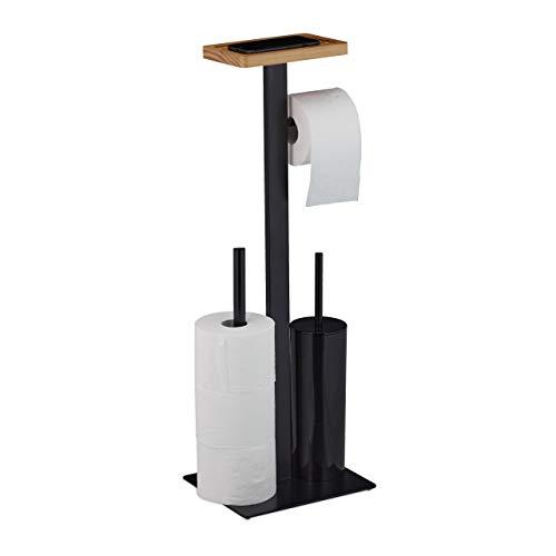 Relaxdays WC Garnitur mit Ablage, modernes Design, Toilettenpapieraufbewahrung, Bürstenhalter, HBT 73x25x20 cm, schwarz