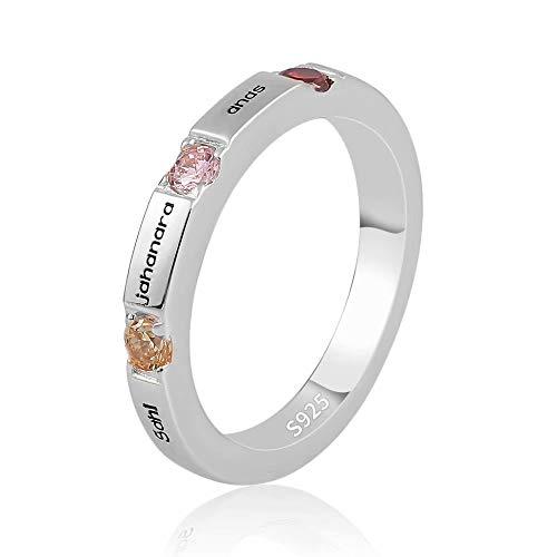 JF Personalisierte Geburtsstein Ring graviert Name Schmuck für Frauen Mütter Ring mit 3 Namen