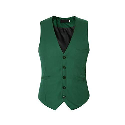 Men's V-Neck Dress Suit Business Casual Suit Vest Waistcoat 5 Button Slim Fit
