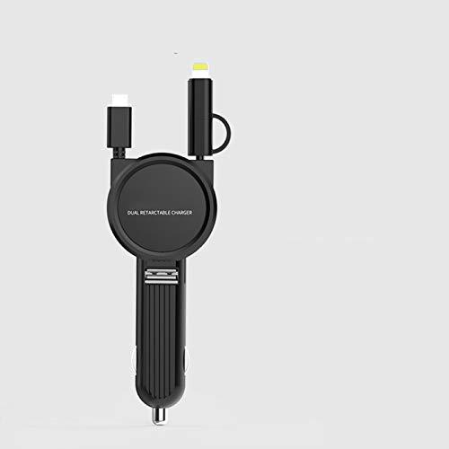 FSSQYLLX Cable de Carga rápida 3 en 1 Cargador de Coche USB Cable portátil con Cable telescópico multifunción Teléfono móvil
