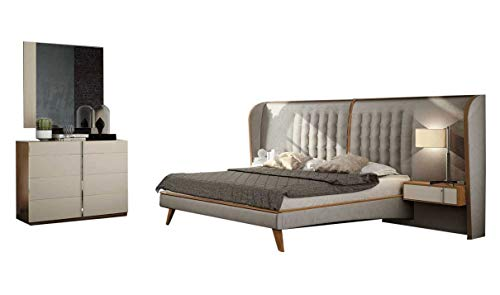 Why Choose Cadiz Modern King Bedroom Set in Matt Arena Lacquer & Nogal Natural Wood Veneer, 5-Piece