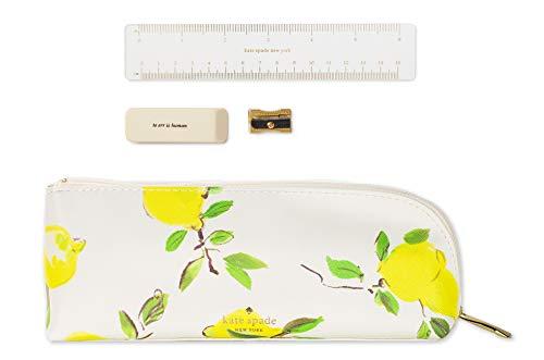 Kate Spade New York Pen and Pencil Case, Zipper Pouch Organizer for Office/School Supplies, Lemons