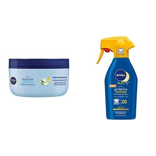 Nivea Sun Spray Latte Solare Idratante Protect & Hydrate FP 20, 300 ml + Nivea Sun Crema Intensiva Doposole Rigenerante con estratto di Loto, 300 ml