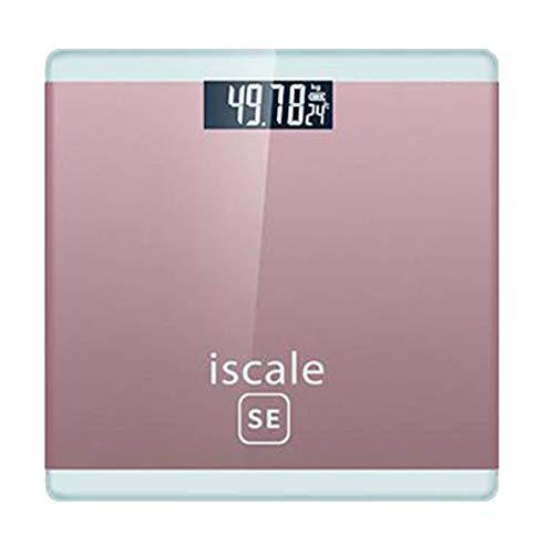 UYZ Weight Watchers Báscula de baño ultradelgada, báscula electrónica Digital de Alta precisión, Rosa, batería