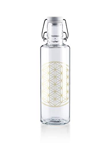 soulbottles 0,6l • Flower of Life • Trinkflasche aus Glas • plastikfrei, nachhaltig vegan …