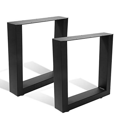 BMOT 2x Tischgestell 60x72cm Schwarz Stahl Tischkufen, für Schrank, Couchtisch, Esstisch, mit Verstellbare Bodenschutzmatten